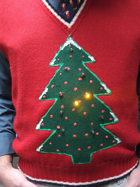 Ugly christmas jumper featuring LED lights