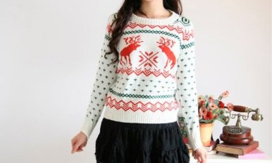 Christmas deer and snowflake jumper - womens